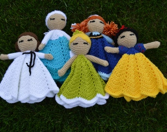 Princess Crochet Lovey Security Blankets