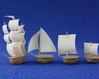 Nut Shell Model Boats, Set of Four: Bermuda Sloop, Three Mast Ship, Little Sail Boats