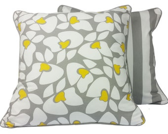 Storm Grey Abstract Floral Cushion Cover