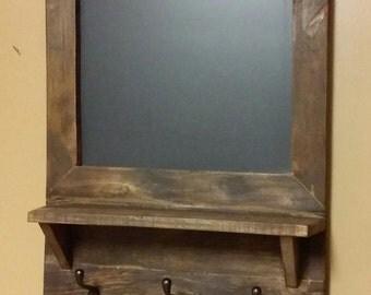 Rustic Decor, chalkboard shelf ,coat rack, hall shelf, Country decor chalkboard shelf, primitive chalk board shelf. Office Chalkboard