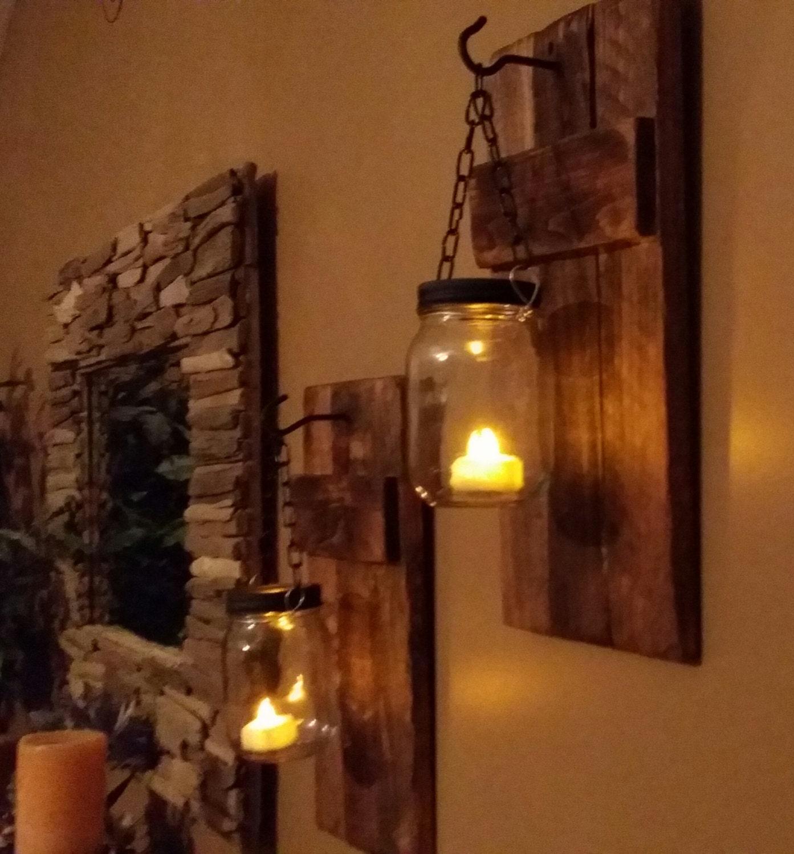Mason jar candle holders rustic decor sconces mason zoom amipublicfo Image collections