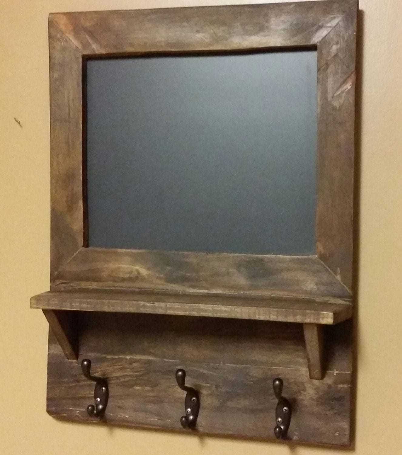 Rustic Decor Chalkboard Shelf Coat Rack Hall Shelf Country