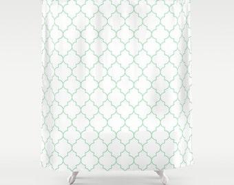 Shower Curtain - Mint - Green Quatrefoil - Dorm Shower Curtain - Teen Room Decor - Girls Bathroom - Mint - Green Quatrefoil Shower Curtain