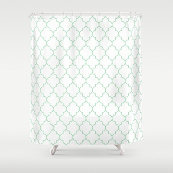 Description Shower Curtain With A Mint Green And White