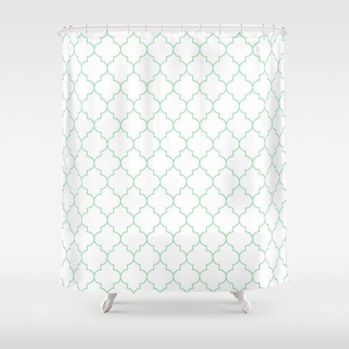 Shower curtain mint green quatrefoil dorm shower curtain for Quatrefoil bathroom decor