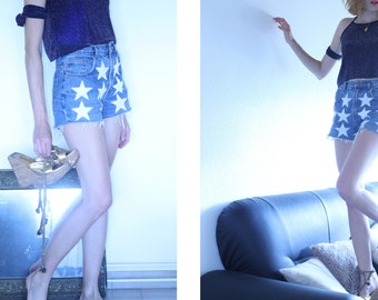 Vintage clothing - denim high waisted levi short stars & sequins