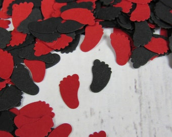 1000 Ladybug Baby Shower - Red Sprinkle Decor - Black and Red Baby Feet Confetti