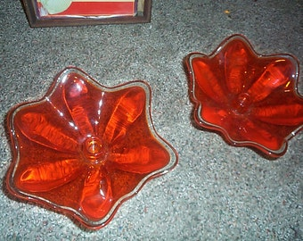 Mid Century Modern Viking Glass Candleholders in Brilliant orange