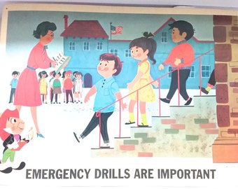 Vintage Disney Safety Poster 1960s EMERGENCY DRILLS are IMPORTANT