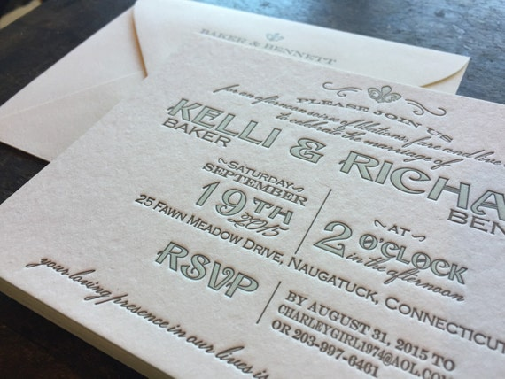 french new orleans letterpress wedding invitation - New Orleans Wedding Invitations