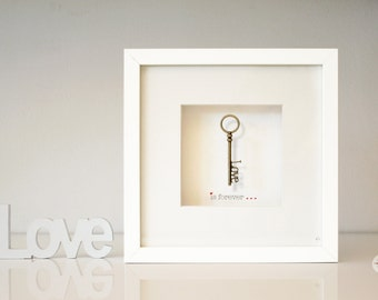 Wedding Gift Love Gift Art frame Bridesmaid Gift best Man best friend Gift - love key - antique bronze - love is forever - framed