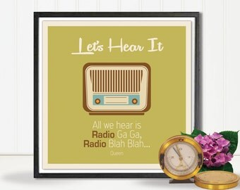 "Retro Quote Art, Lets Hear It, Radio Print, 70's Art Print, Retro Quate Print, Retro Art Print, Retro Radio Poster, Printable, A4, 8""/8"""