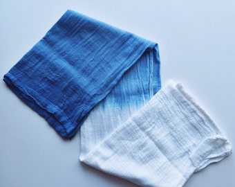 Hand dyed ombré hand towels (set of four towels)