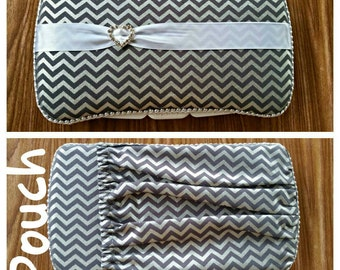 Silver chevron baby wipe case, grey travel wipes case,  diaper clutch,    wipe case with pouch,  pocket on back,  heart rhinestone buckle.