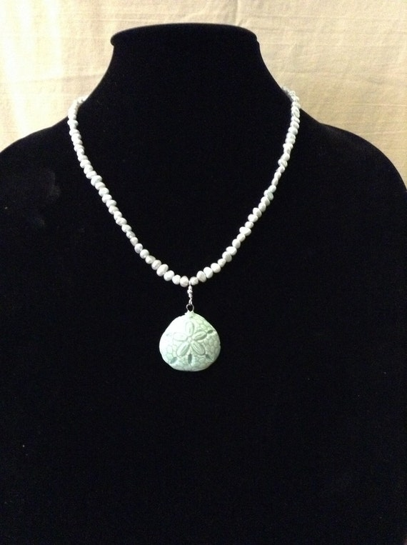 Freshwater Pearl Necklace with Handcrafted Ceramic Pendant NSS6151794