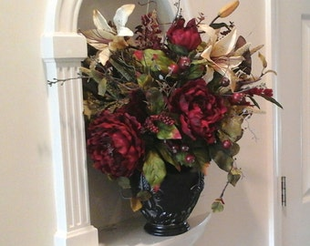 Floral Arrangement, SHIPPING INCLUDED, Floral Centerpiece, Elegant, Dining Table,Wall Niche, Foyer  Large Silk Tuscan Floral Arrangement