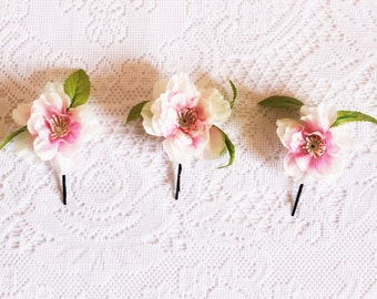 Cherry Blossom Bobby Pins, pink, three, clips, nature, spring, flower, leaves, hair, accessory