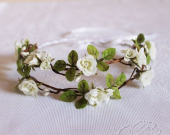 White Roses and Leaves Flower Crown / small, elegant, handcrafted, hair, accessory, headpiece