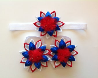 Four of July Baby Headband & Barefeet Sandals, USA Kanzishi Flower Headband, Kanzishi Barefeet Sandals For Babies, Infants, Toddlers