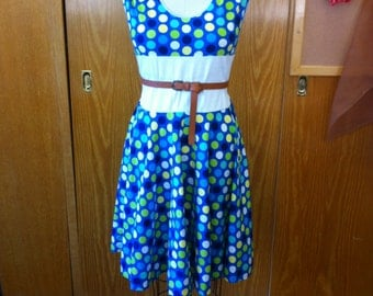 Blue/Green/White polka dot retro style dress