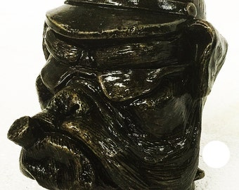 BULLDOG Stone Skull . Harley, Motorcycle,Gift,Collector, Decor, Biker,Marine, Bulldog