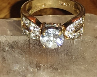 Vintage Lind 14K Heavy Goldfilled Electroplated Cubic Zirconia Pave Ring Size 6