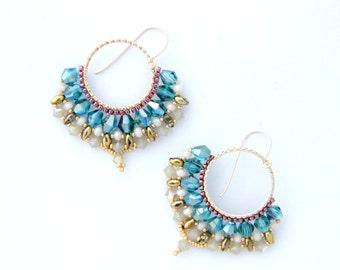 Green Hoop Earrings, Round Earrings,  Green Crystal Earrings, Beaded Jewelry