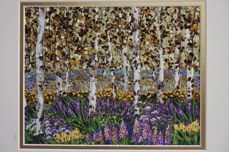 Framed Quilt Landscape Quilt Birches Wall Hanging Art Quilt