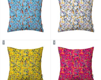 Abstract watercolor pillow case, geometric pillow cover by original pattern design in purple red , yellow, navy blue, white 18x18', 20x20'