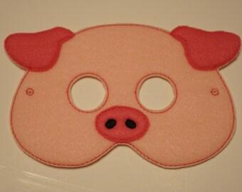 Cute Pig felt embroidered mask