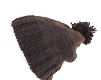 SALE -25 per cent,  Wool, hand knit beanie, chunky wool beanie, brown
