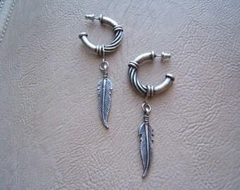 On Sale! Free Shipping*! Festival Jewelry, Festival Earring, Feather EARRINGS, Indian Jewelry, Hoop Earrings, Silver, Antique, #80125-1