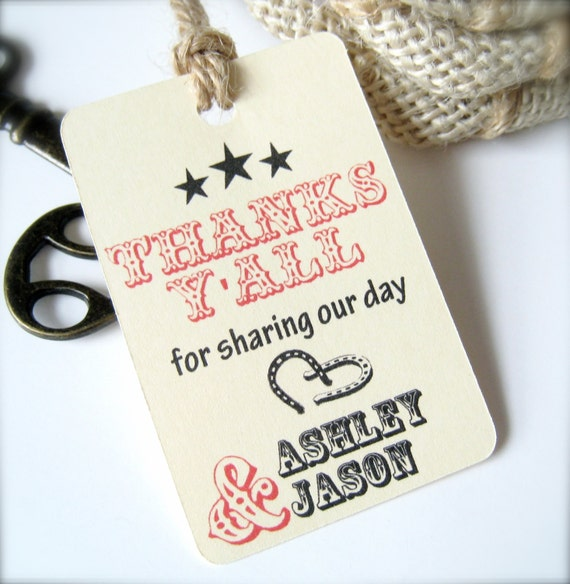 Western style favor tags, engagement favor tags, wedding tags, thank you tags, anniversary favor tags - 30 count