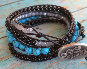 Four Wrap Beaded Leather Wrap Bracelet, Turquoise and Black Wrap Bracelet, Silver Floral Button with Adjustable Closure