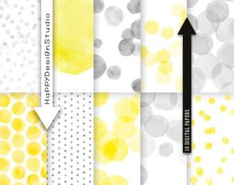 "Yellow & grey watercolor digital paper pack 12""x12"" instant download, dot pattern dots set gray and yellow colors circles lemon watercolour"
