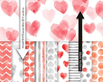 "Heart watercolor digital paper pack 12""x12"" commercial use red and grey gray heart love watercolour graphic images photography backdrop"
