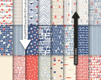 Blue and red digital paper hand drawn pattern geometric scrapbook collage sheet nautical colors modern contemporary pattern navy gray beige