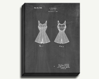 Canvas Patent Print - Bathing Suit Gallery Wrapped Canvas Poster