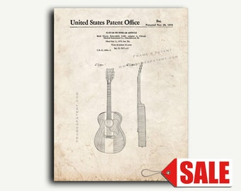 Patent Poster - Buck Owens Guitar Patent Wall Art Print Poster