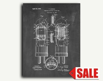 Patent Print - Multiple-electrode Vacuum Tube Patent Wall Art Poster