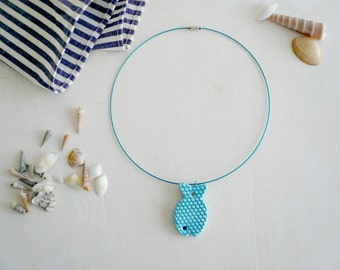 ceramic fish necklace-collars with ceramic blue fish-handmade necklace with ceramic-fish necklace for summer-