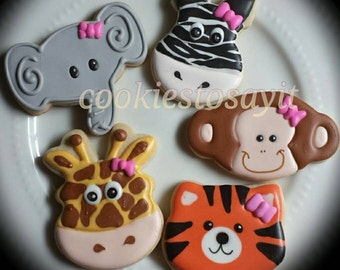 Safari animal party favors for baby shower