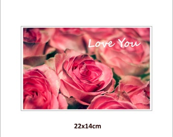 LOVE YOU, photo print on canvas with underframe