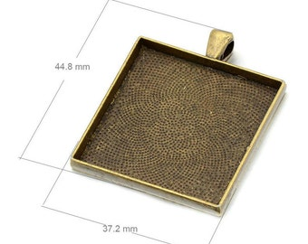 Wholesale 20pcs Large Pendant Trays - 35mm Square Pendant Blanks - Bezel Cabochon Settings - Pendant Tray Blanks