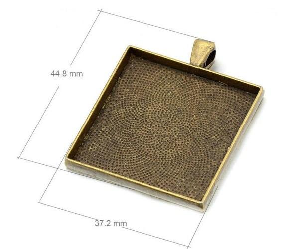 wholesale 20pcs large pendant trays 35mm square pendant