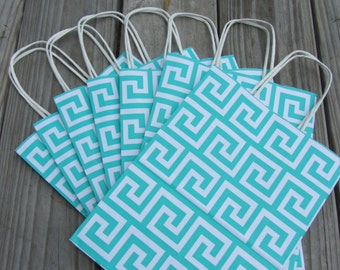 Greek Key Gift Bags/Turquoise 20 Pack