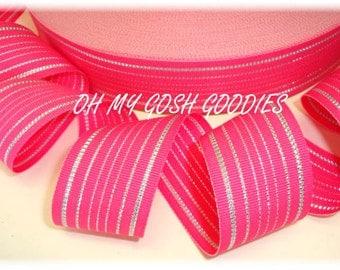 "PRINCESS SILVER Bling PINK Stripe Reversible grosgrain ribbon - 1.5"" - 5 Yards - Oh My Gosh Goodies Ribbon"