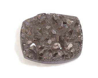 Platinum Drusy Quartz Cushion Cabochon Loose Gemstone 1A Quality 9x7mm TGW 1.40 cts.