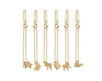 Tiny Dainty Pig, Chick, Whale, Elephant, Bunny, Cow Animal Charm Bracelets [Minimal, Thin, Valentine's, Dainty, Gift, Delicate, Christmas]