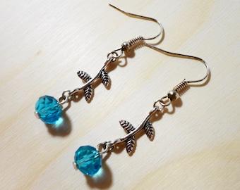 Beaded Flower Earrings, Aqua Blue Crystal Bead Earrings, Metal Dangle Earrings, Silver Drop Earrings, Women's Beadwork Jewelry, Gift Idea